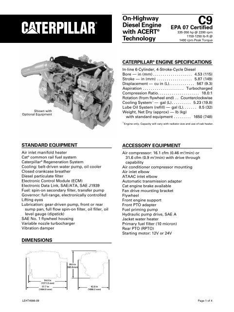 c9 on-highway diesel engine