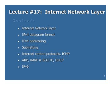 Lecture #17 Internet Network Layer