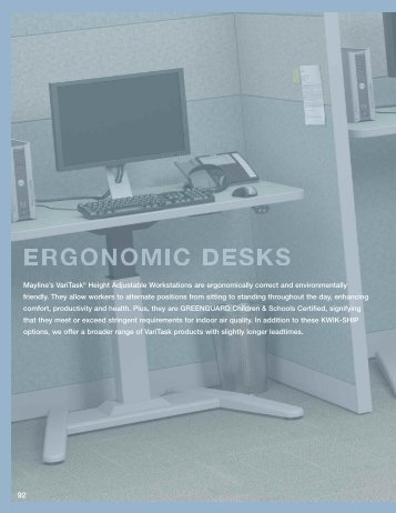 Mayline's VariTask® Height Adjustable Workstations are ...