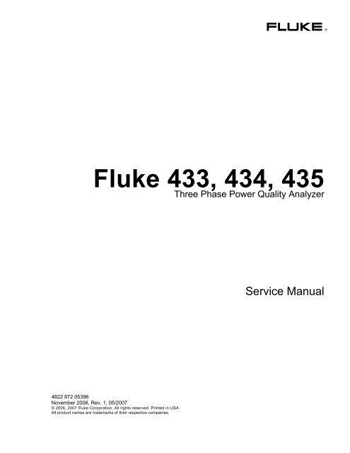Analysatoren & Datenerfassung Fluke Power Quality Analyzer 433 434 ...