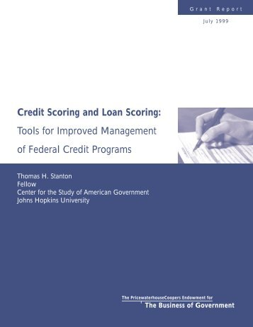Credit Scoring and Loan Scoring - Thomas H. Stanton