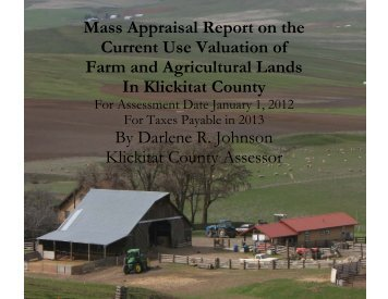 Report on the Valuation of Farm Lands - Klickitat County Home