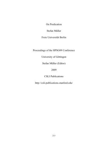 Proceedings of the HPSG06 Conference - German Grammar Group ...