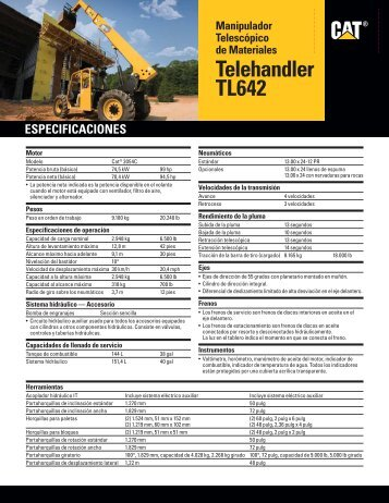 Spec Sheet for TL642 Telehandler ASHQ5839-01 - Unimaq