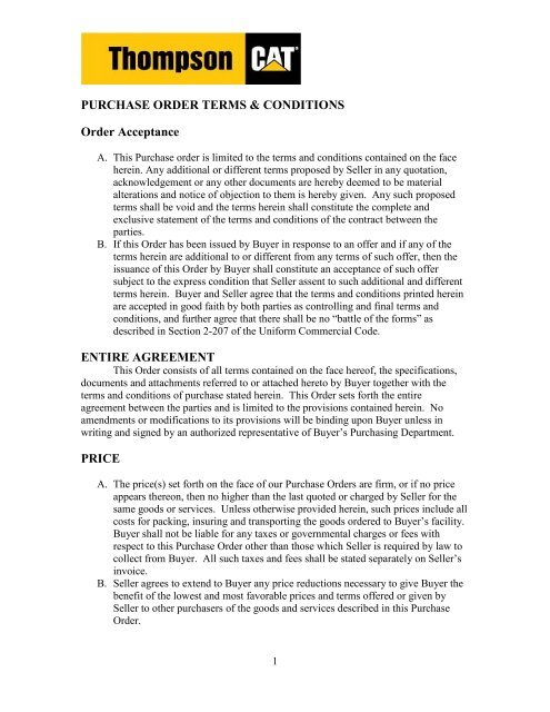 Purchase Order Terms Conditions Order Acceptance Entire Agreement