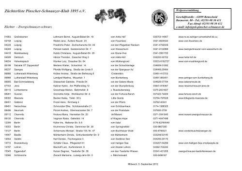 Züchterliste Pinscher-Schnauzer-Klub 1895 e.V. - PSK