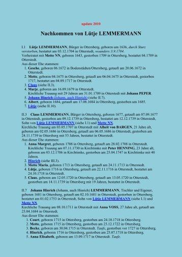 Nachkommen (gesamt) von Lütje LEMMERMANN
