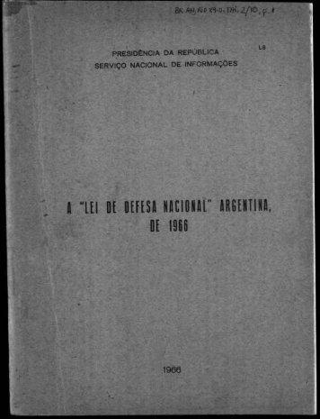 "A ""LEI DE DEFESA NACIONAL"" ARGENTINA DE 1966"