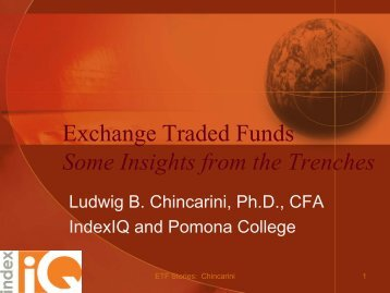 Exchange Traded Funds Some Insights from the Trenches