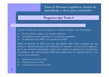 Preguntas tipo Tema 4 Tema 4: Procesos cognitivos, formas de ...