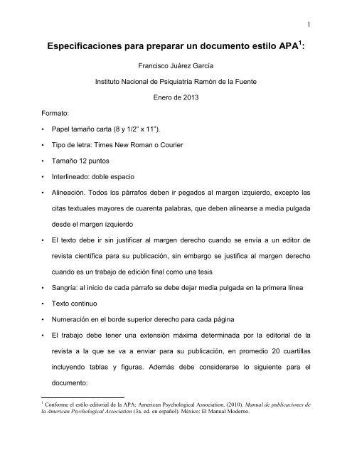 Especificaciones para preparar un documento estilo APA