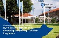 NOV Najaarsvergadering 2013 donderdag 10 en vrijdag 11 oktober Programma