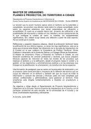 MASTER DE URBANISMO PLANES E PROXECTOS DO TERRITORIO A CIDADE