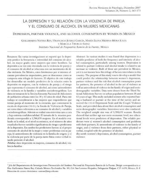 la depresión y su relación con la violencia de pareja y el consumo ...