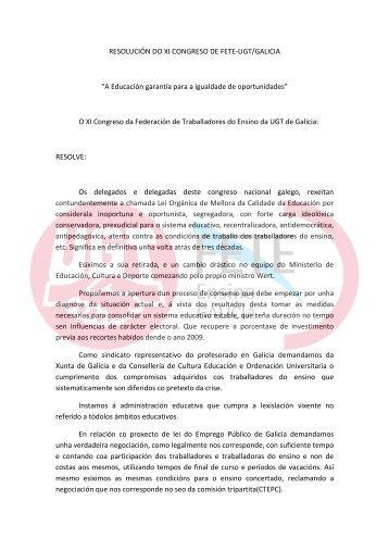 Resolucións aprobadas - FETE UGT Galicia