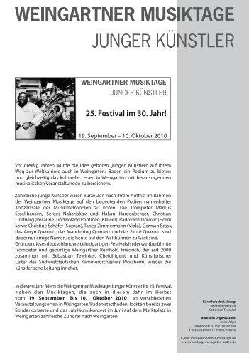 2 5 . F e s t i v  a l i m 3 0 . J a h r - Gemeinde Weingarten (Baden)