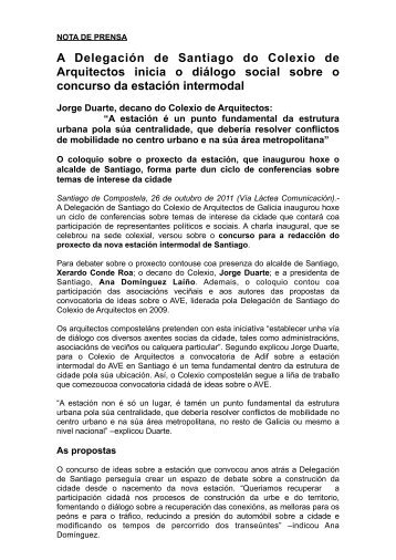 Nota de prensa (pdf ) - Colexio Oficial de Arquitectos de Galicia