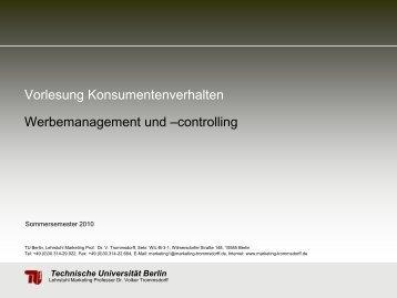 Vorlesung Konsumentenverhalten Werbemanagement und - TU Berlin