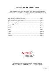 Specimen Collection Table of Contents - the Nebraska Public Health ...