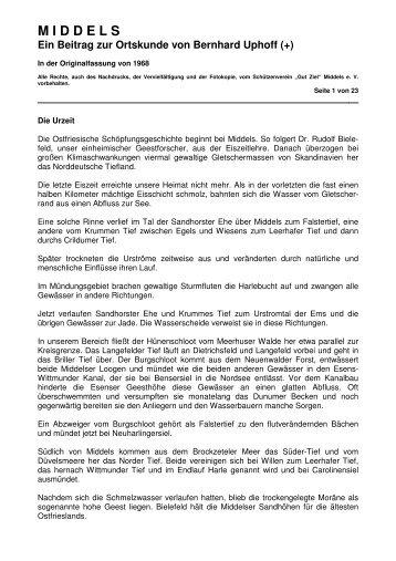 MIDDELS Ein Beitrag zur Ortskunde von Bernhard Uphoff - Gut Ziel