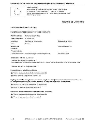 Prestación de los servicios de prevención ajenos del Parlamento de Galicia