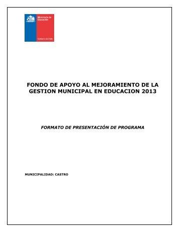FONDO DE APOYO AL MEJORAMIENTO DE LA GESTION MUNICIPAL EN EDUCACION 2013