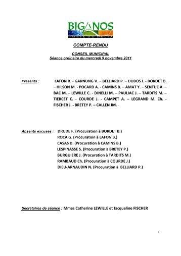 COMPTE RENDU AFFICH. CM 09.11.2011 - Mairie de Biganos