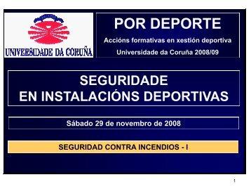 PROTECCION CONTRA INCENDIOS EN INSTALACIONES Y ACTIVIDADES DEPORTIVAS PARTE I