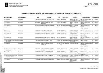 listaxe adxudicación por orde alfabetica - CCOO Ensino