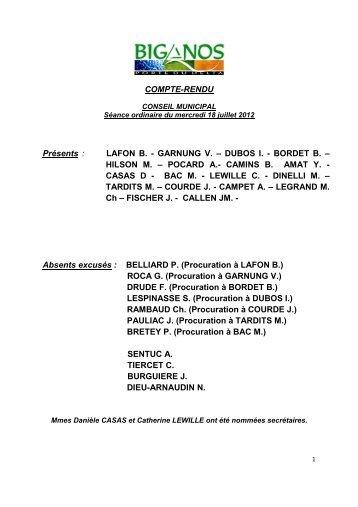 COMPTE-RENDU DU 18.07.2012 - Mairie de Biganos