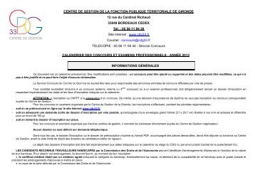 Calendrier prévisionnel 2013 des concours et examens ...