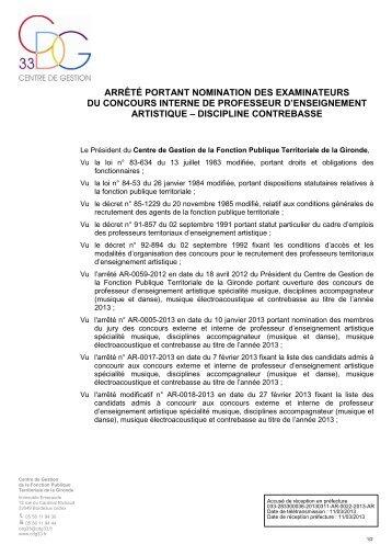 Arrêté portant nomination des examinateurs du concours interne de ...