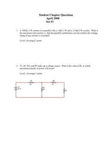 Student Chapter Questions April 2008 Set #1