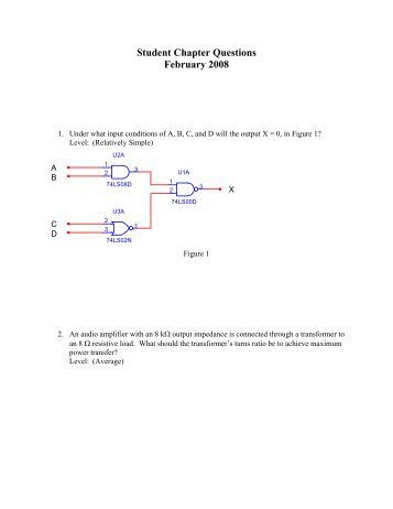 Student Chapter Questions February 2008