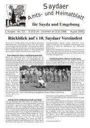 6. Teichfest ein! Beginn: 15:00 Uhr Eintritt - Bergstadt Sayda