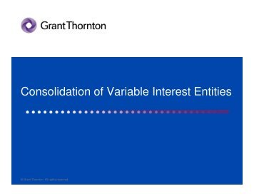Consolidation of Variable Interest Entities