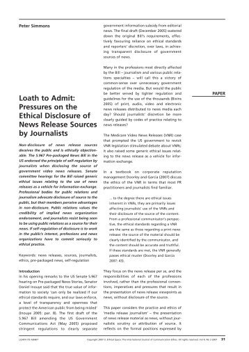 Loath to Admit: Pressures on the Ethical Disclosure of News ...