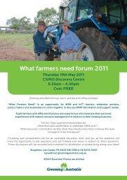 What farmers need forum 2011 - Greening Australia