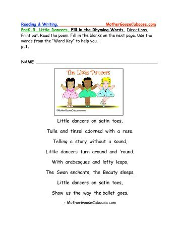 fill in the rhyming words mother goose