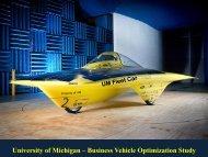 University of Michigan – Business Vehicle Optimization Study