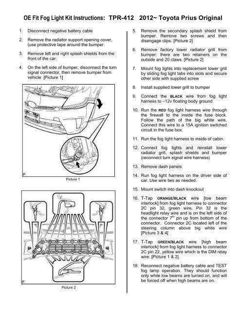 Oe Fit Fog Light Kit Instructions Tpr 412 2012 Toyota Prius Original