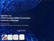 Sightlines LLC FY2012 Facilities MB&A Presentation University of ...