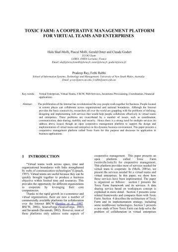 toxic farm: a cooperative management platform for virtual ... - Loria