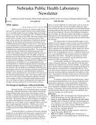 Nebraska Public Health Laboratory Newsletter - the Nebraska ...