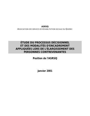 étude du processus décisionnel et des modalités d'encadrement ...