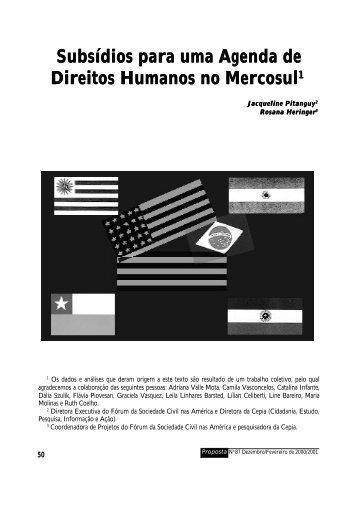 Subsídios para uma Agenda de Direitos Humanos no Mercosul