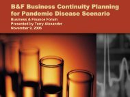 B&F Business Continuity Planning for Pandemic Disease Scenario