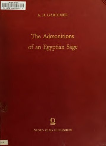 The admonitions of an Egyptian sage from a - NYU | Digital Library ...