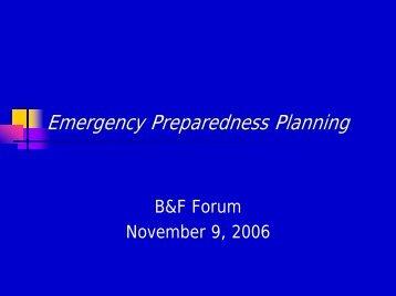Emergency Preparedness Planning