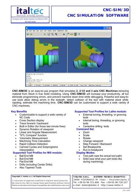 CNC-SIM/3D CNC SIMULATION SOFTWARE - Italtec
